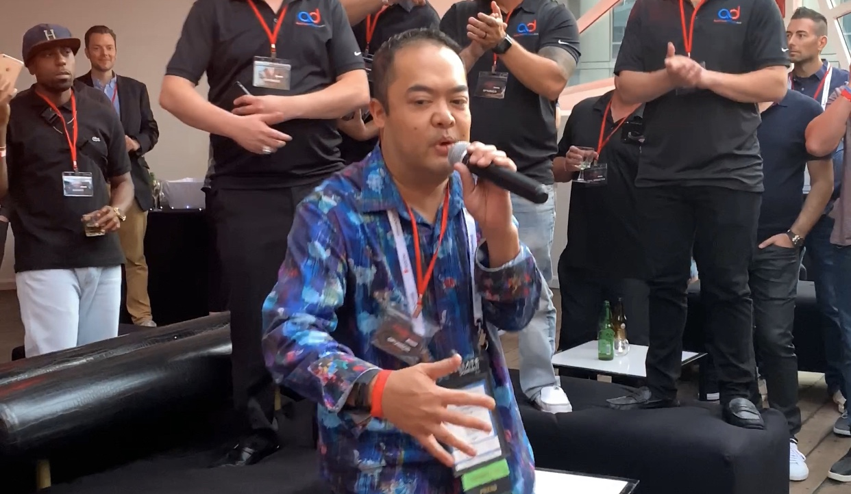 Rapping at the 2019 Mailer Meetup East